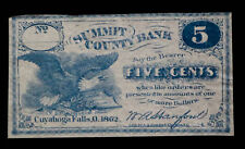 5c CENTS SUMMIT COUNTY BANK CUYAHOGA FALLS OBSOLETE BANK NOTE **UNCIRCULATED*...