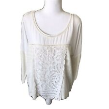 Meadow Rue Women Medium Cream Lace Blouse Top Shirt Scoop Neck Anthropologie