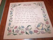 """COMPLETED MOM Flowers Butterflies Counted Cross Stitch  Linen 14"""" x 14"""" Mounted"""