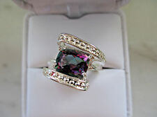 Antique Russian Style Engagement 925 silver Multi-Color Topaz Ring