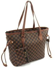 Womens Faux Leather Large Checked Shoulder Bag Tote Handbag + Purse Tan Brown