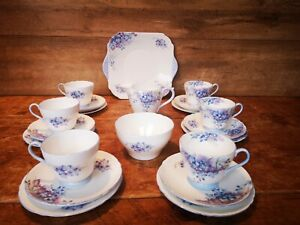 Shelley 'Blue Spray' 21 piece tea set - first quality.