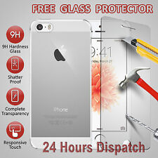 Gel Jelly Skin Crystal Clear TPU Cover Case For Apple iPhone 5/5S With Tempered