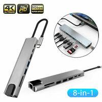 8 IN 1 HUB USB C auf 4K HDMI RJ45 Adapter SD / TF Kartenleser PD Ladegerät USB Z