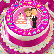 WEDDING CAKE PINK BRIDE AND GROOM CELEBRATION 7.5 INCH PRECUT EDIBLE CAKE TOPPER