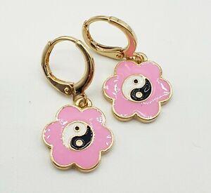 Pink Enamel Flower Black & White Yin Yang hoops huggies 90s Stories