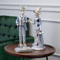 "20"" Fitz and Floyd Floral Splash Female & Male Rabbit Figurine Statue Set of 2"
