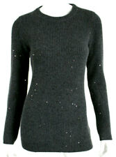 BRUNELLO CUCINELLI Charcoal Cashmere Suede Elbow Sequin Knit Sweater XL