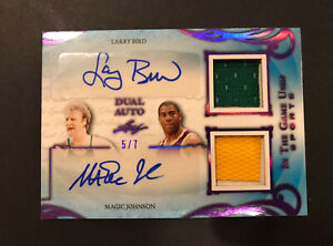 2019 Leaf In The Game Used LARRY BIRD MAGIC JOHNSON DUAL AUTO PATCH Signed #/7