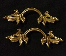 "2 Vtg French Provincial Drawer Pulls 3"" Bore Keeler Brass Company N4576"