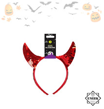 SEQUIN RED DEVIL HORNS HEADBAND Halloween Ladies Girls Fancy Dress Accessory UK