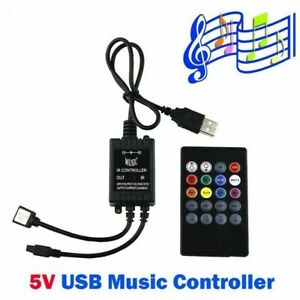 5V Music IR Controller 20 Keys Black Voice Sound Sensor usb 5050 3528 RGB 5V LED