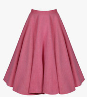 Lindy Bop 'Peggy Sue' Vintage Full Circle Pink Chambray Swing Skirt BNWT Sz 20