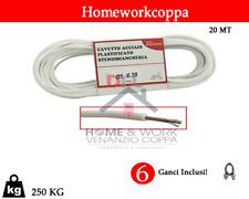 Cavo Stendibiancheria Stendipanni PVC 20 MT filo con ganci acciaio 5 mm Nuovo