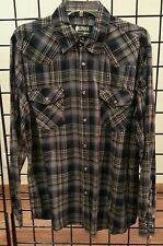 "SALE + FREE SHIPPING! NEW MEN'S OUTBACK NAVY PLAID ""ROLLBACK"" WESTERN SHIRT!"