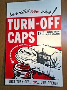 Schmidt's Beer Poster - 12 oz Glass Bottles w/ Turn-off Caps- 1960's/70's- P3120