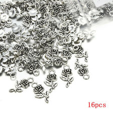 Lots 16pcs Tibetan Silver Rose Flower Charm Pendant Beads Jewelry Making DIY