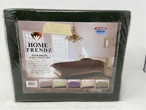 Home Trendz Four Piece Queen Sheet Set Forest Green 1800 Series Brand New