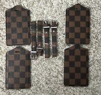 Rita Messi Luggage Tag 4 Pack Brown Checkerboard Vegan Leather
