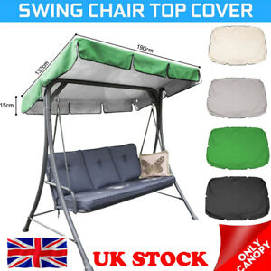 Replacement Canopy For Swing Seat 2 3 Seater Sizes Garden Hammock Cover Black UK