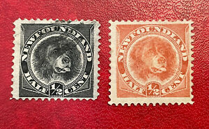 (2) Newfoundland 1890's Dog Stamps SC#56 (used) and #58 (MH, NG)