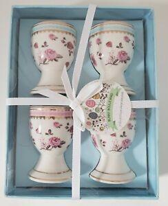 Porcelain Egg Cups Bunny Boulevard Boxed Set Blue Pink Roses Gold Trim Victorian