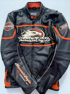 Rare Harley Davidson Men Screamin Eagle Leather Jacket Raceway 98226-06VM Small