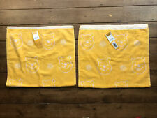 2 x Disney WINNIE THE POOH Yellow & White HAND TOWELS 50cm x 90cm Bathroom Decor
