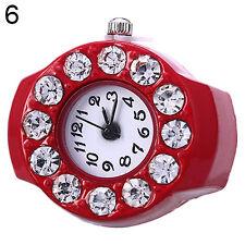 bid red Men Women Silicon Round Rhinestone Elastic Quartz Finger Ring Watch