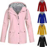 Womens Rain Mac Hooded Raincoat Ladies Waterproof Outdoor Coat Windproof Jacket