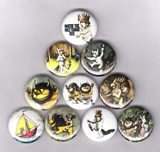 """WHERE THE WILD THINGS ARE 1"""" PINS / BUTTONS (maurice sendak shirt book not movie"""