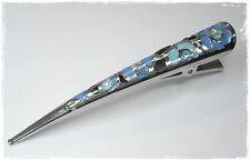 NEU 10,5cm HAARCLIP in silber/blau/türkis HAARSPANGE Metall HAARKLAMMER