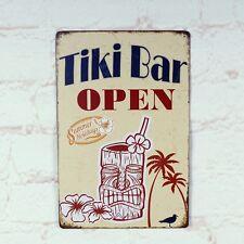 Tiki Bar Open Metal Tin Sign Bar Pub Home Retro Poster Cafe Art Wall Plaque