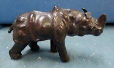 Vintage Leather Wrapped Rhinoceros Rhino African Safari Animal India Statue Art