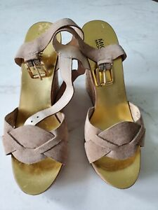 Mk Michael Kors Gold Metallic Wedges Platforms Shoes Heels 6.5