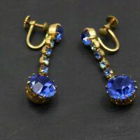 Vintage Gold Toned Blue Clear Rhinestone Screw Back Dangle Drop Earrings b16