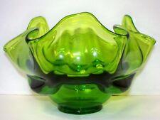 "VTG Mid-Century Viking Art Glass Green Epic Drape Handkerchief Bowl 5.75"""