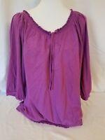 Lane Bryant Women's SHORT SLEEVE SHIRT PLUS SIZE 22 24 Purple