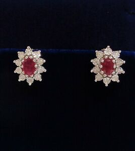 Fine Ruby and Diamond Stud Earrings 375 (9ct) Yellow Gold - Cluster - 12 x 10mm