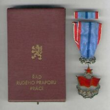 CZECH. Order of the Red Banner of Labour with ribbon bar in original case