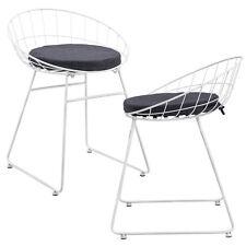 [en.casa]® Set de 2 chaises en métal avec coussin de siége - blanc