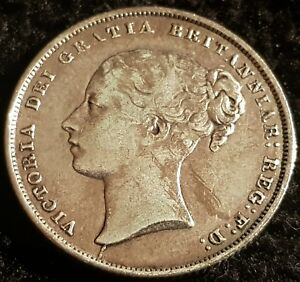 1858 Victoria Young Head .925 Silver British Shilling Coin