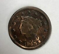 1849 Braided Hair Large Cent 1¢ Good