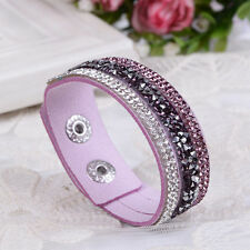 Luxury Ladies Charms Crystal Leather Wrap Wristband Cuff Punk Bracelet Bangle