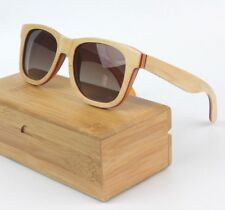 b2521874dc Bambú Madera Natural Retro Cuadrado Polarizado Skateboard Gafas de Sol con  Funda