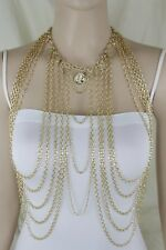 Women Trendy Necklace Jewelry Long Statement Gold Metal Body Chain Harness Coins