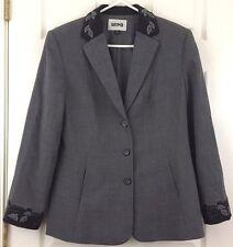 Kasper Wool Career Blazer Suit Jacket Gray 3 Button Leaf Applique Size 12