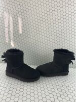 UGG Mini Bailey Bow II Black Suede Fur Lined Pull On Ankle Boots Women's Size 6