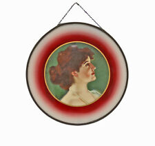 "Vintage Antique 1900 Victorian Woman 8.5"" Framed Glass Flue Cover Picture"
