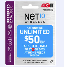 Preloaded Net10 Sim card with $50 30 Day Unlimimited Talk & Text With 16GB data